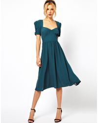 ASOS Collection Asos Midi Dress with Covered Buttons - Lyst