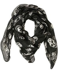 Alexander McQueen Black Skull Print Silk Scarf black - Lyst
