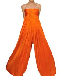 Alexander McQueen Orange Fluid Jersey Draped Bustier Jumpsuit