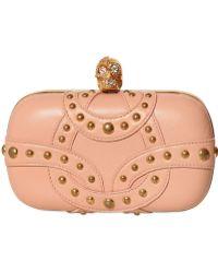 Alexander McQueen Studded Soft Nappa Skull Box Clutch pink - Lyst