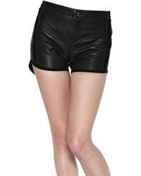 American Retro Suede Pocket Leather Shorts - Black