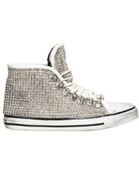 Black Dioniso Leather and Swarovski High Top Trainers - White