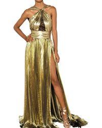 Emilio Pucci Laminated Silk Georgette Long Dress gold - Lyst