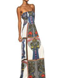 Etro Printed Viscose Jersey Long Dress - Lyst