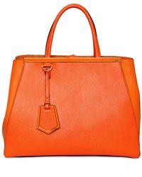 Fendi Medium Structured Leather Bag orange - Lyst