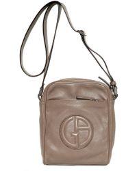 6a7fb91542 Giorgio Armani - Logo Grained Leather Cross Body Bag - Lyst