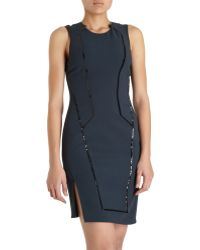 Helmut Lang Contrast Piped Sleeveless Dress - Lyst
