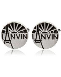 Lanvin Engraved Enameled Brass Cufflinks - Lyst