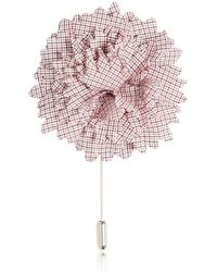 Lanvin Checked Cotton Flower Pin white - Lyst