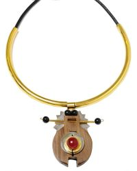 Marni Wood and Brass Necklace gold - Lyst