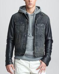 Rag & Bone Leather Sleeve Denim Jacket - Lyst