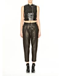 Alexander Wang Pleat Front Wool and Leather Pant - Lyst