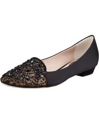 Rene Caovilla Satin and Lace Embellished Loafer - Lyst