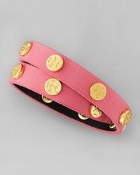Tory Burch Logostudded Saffiano Wrap Bracelet Rose - Lyst