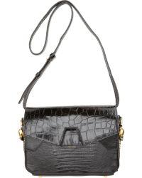 Alexander Wang Croc-stamped Trifold Bag - Black