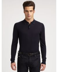 Armani Silk/Cotton Polo - Lyst