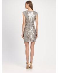 BCBGMAXAZRIA Vallissa Geometric Sequin Dress gold - Lyst
