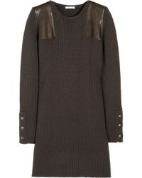 Chloé Leatherpaneled Knitted Wool Dress brown - Lyst