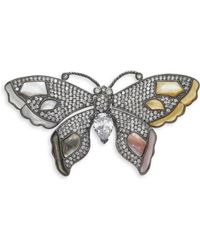 CZ by Kenneth Jay Lane - Butterfly Mother Of Pearl Crystal Brooch - Lyst