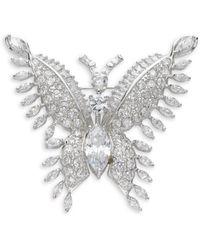 CZ by Kenneth Jay Lane Butterfly Crystal Brooch - Metallic