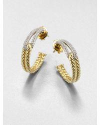David Yurman 18k Gold Diamond Hoop Earrings - Lyst