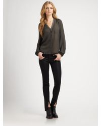 Elizabeth And James Miriam Leathertrim Silk Blouse - Lyst