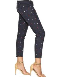 Etoile Isabel Marant Embroidered Cotton Denim Cropped Jeans blue - Lyst