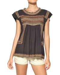 Etoile Isabel Marant Embroidered Raw Silk Top - Lyst