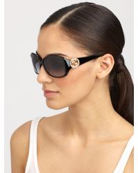 Gucci Crystal Gg-Accented Plastic Oval Sunglasses - Lyst