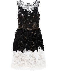 Oscar de la Renta Chantilly Lace and Organza Dress black - Lyst