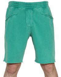 Balmain Raw Cut Washed Cotton Fleece Shorts - Green