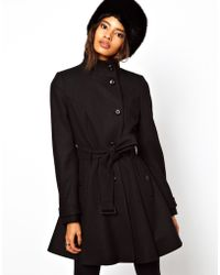 ASOS Collection Asos Fit and Flare Belted Coat - Lyst