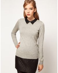 ASOS Collection Asos Jumper with Leather Look Collar - Lyst