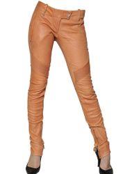 Balmain Stretch Nappa Leather Biker Trousers - Lyst