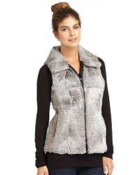 Jocelyn Candy Knit Back Zip Zront Rabbit Fur Vest In Black