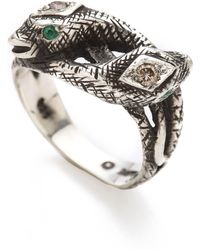 Pamela Love Snake Ring With Diamonds & Emeralds - Silver - Lyst