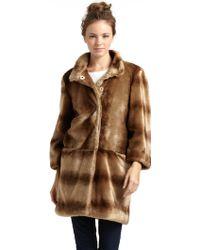 Tahari Kris Faux Fur Coat - Brown
