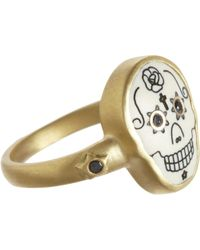 Me&Ro | Scrimshaw Skull Ring with Diamonds | Lyst