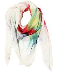 Balmain - Parrot Print Cotton Voile Scarf - Lyst