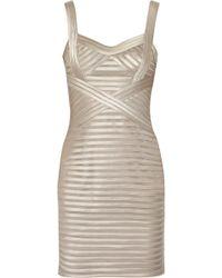 BCBGMAXAZRIA Satin and Mesh Dress - Lyst