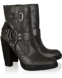Belle By Sigerson Morrison Shearling-lined Suede Ankle Boots - Grey
