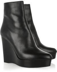 Michael Kors Leather Wedge Ankle Boots - Black