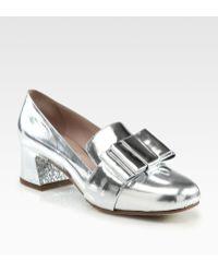 Miu Miu Metallic Leather Bow Glitter Heel Loafer Pumps - Lyst