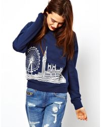 ASOS Collection Sweat with London Scene blue - Lyst