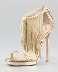 B Brian Atwood Metal Fringe Backzip Sandal Gold gold - Lyst