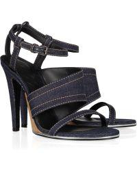 Bottega Veneta Denim and Leather Sandals - Blue