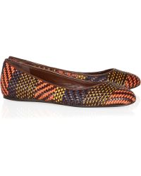 Burberry Prorsum - Woven Leather and Raffia Ballet Flats - Lyst