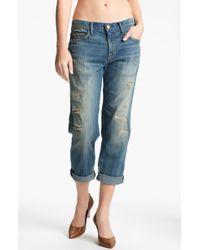 Current/Elliott The Boyfriend Jean Stretch Jeans Panhandle with Repair - Lyst