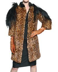 DSquared² Goat Mink On Printed Weasel Fur Coat - Brown