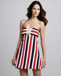 Juicy Couture Port Striped Swimdress - Lyst